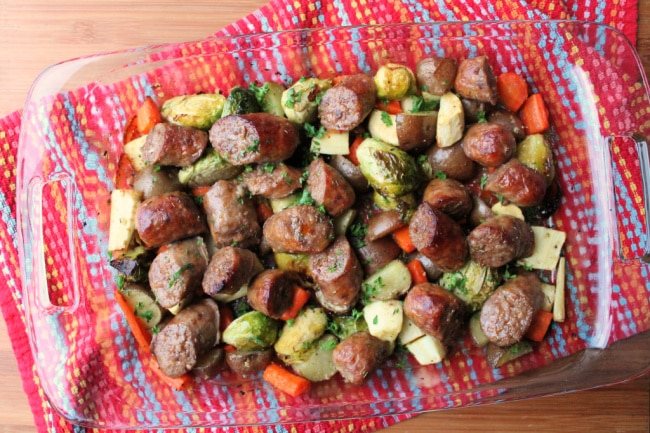 Root Vegetable Sausage Bake cooked