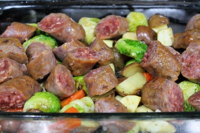 root vegetable sausage bake chopped sausage