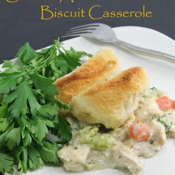 One Pot Chicken Alfredo Biscuit Casserole