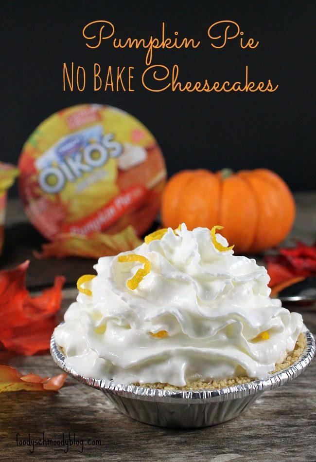 Mini Pumpkin Pie No Bake Cheesecakes