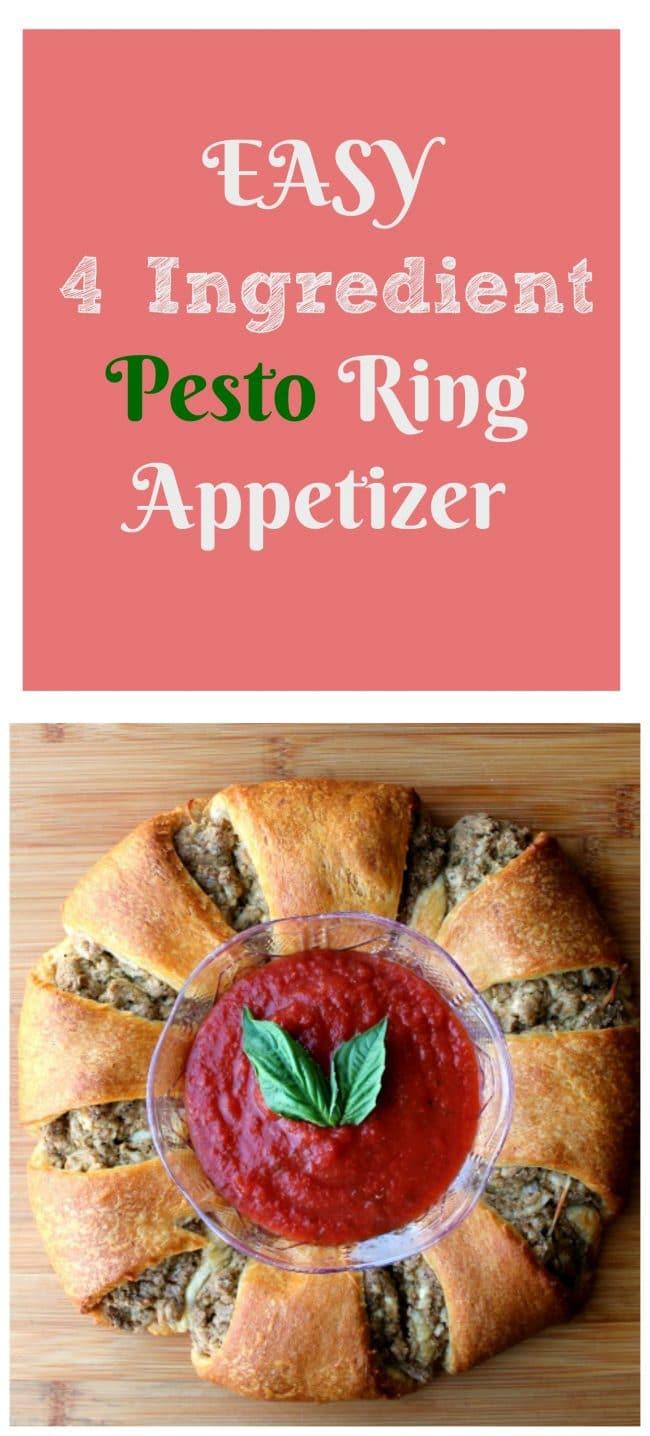 EASY 4 Ingredient Pesto Ring Appetizer