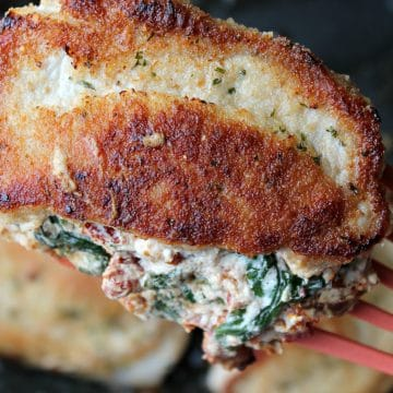 pork chop stuffed and cooked on spatula