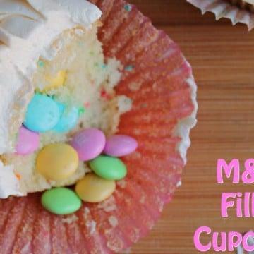 m&m filled cupcakes