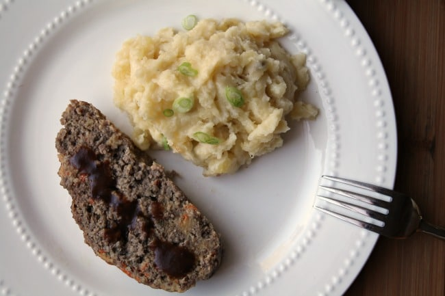 Instant Pot Meatloaf and Potatoes Plated