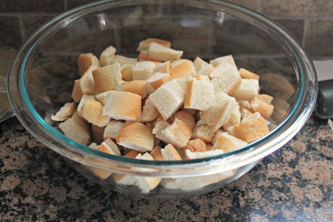 cubed leftover bread in bowl