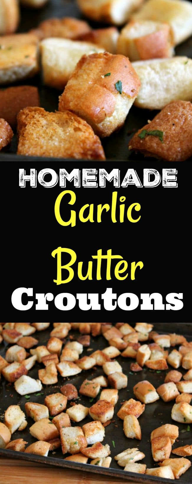 Homemade Garlic Butter Croutons made easy from leftover bread by foodyschmoodyblog.com