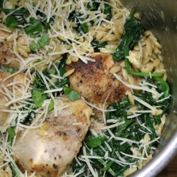 finished instant pot artichoke chicken in pot
