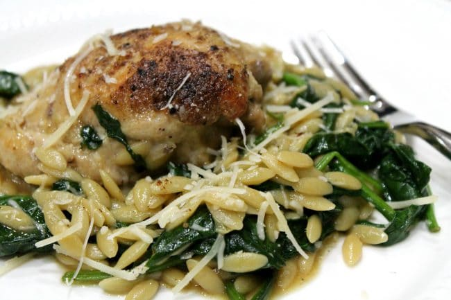 chicken on top of orzo
