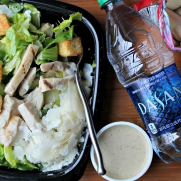 Chicken Caesar Salad with apples and DASANI