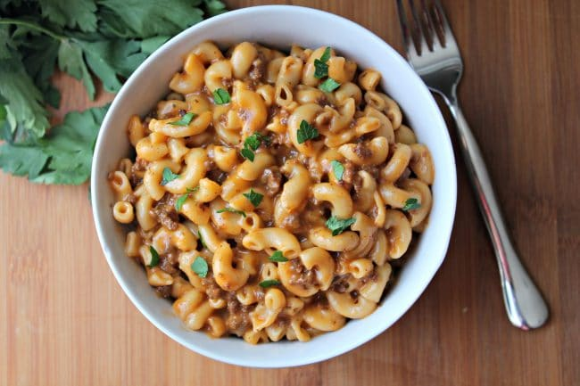 Instant Pot Cheeseburger Mac in bowl