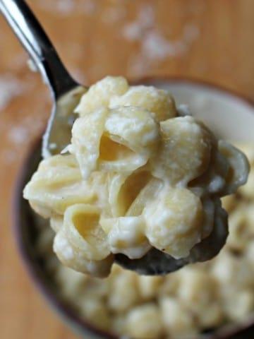 one pot garlic white cheddar shells in spoon