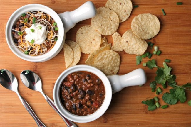Instant Pot Chili in crock bowls