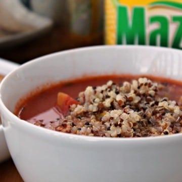 quinoa pepper soup close up