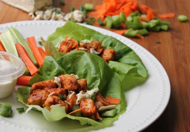 buffalo chicken wraps in lettuce