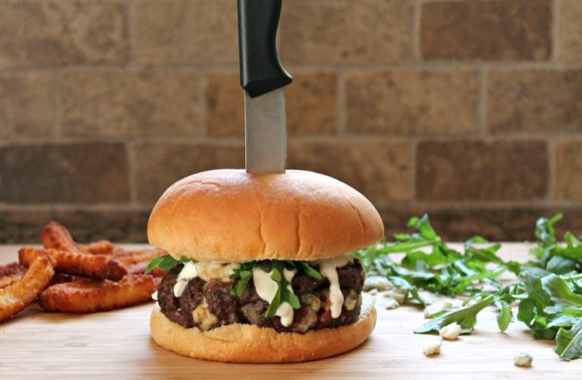 Blue Cheese Bacon Burger Knife Cutting Board