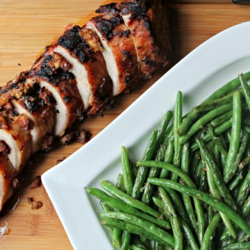 grilled pork loin with grilled beans