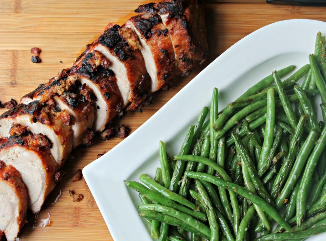 Grilled Pork Loin with Grilled Green Beans