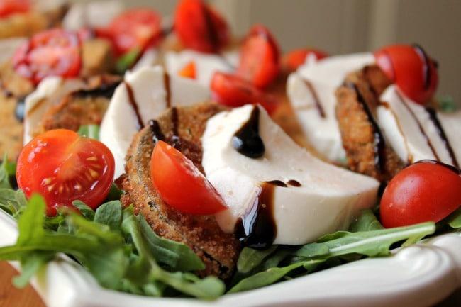 eggplant caprese salad close up