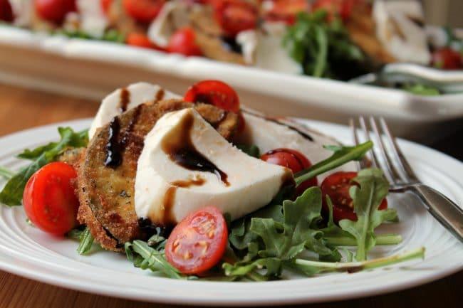 eggplant caprese salad plated