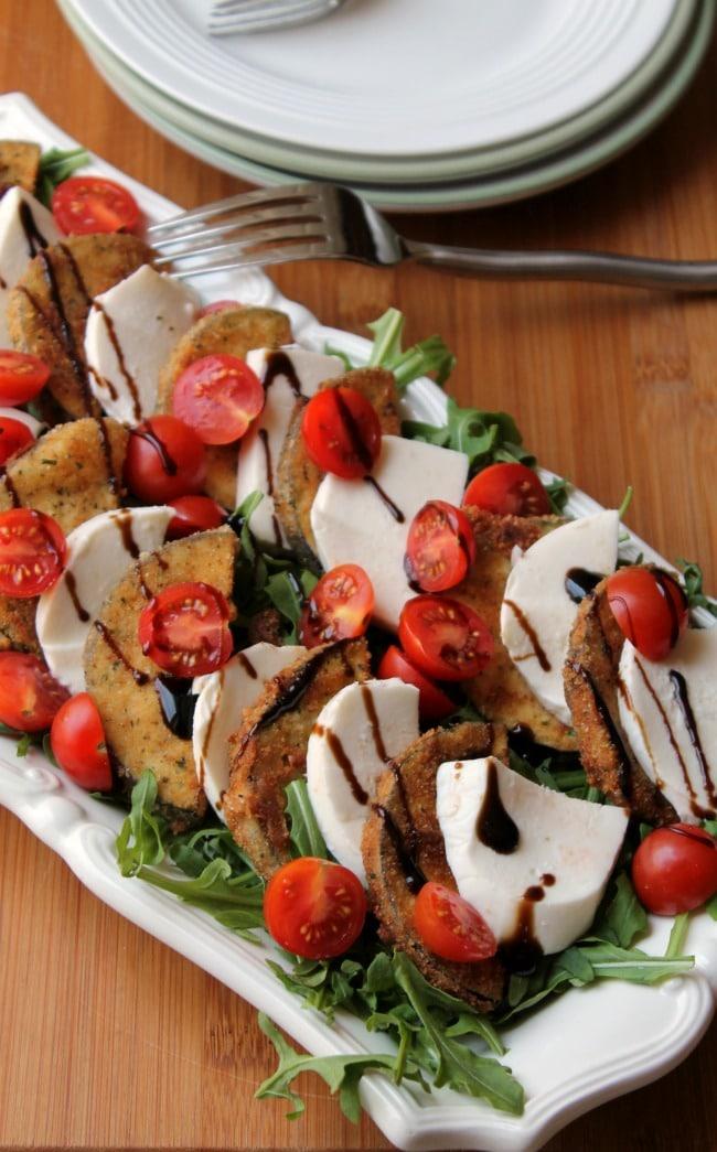 eggplant caprese salad served