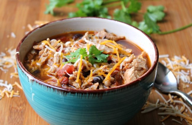 slow cooker pork chili in bowl