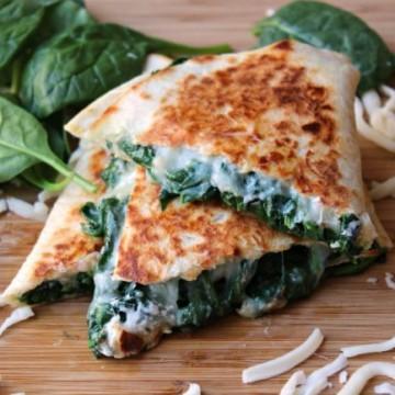creamy spinach quesadilla sliced