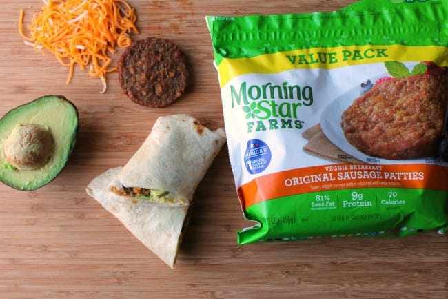 breakfast burrito sliced with products