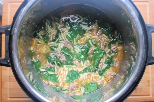 instant pot sausage soup in pot