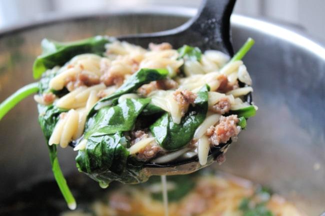instant pot sausage orzo soup ladle