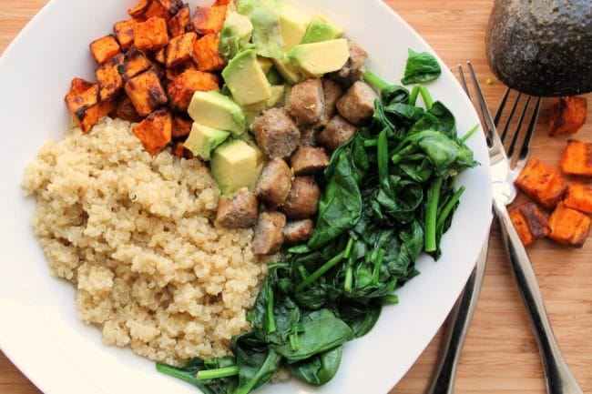 quinoa breakfast bowl with air fryer sweet potatoes
