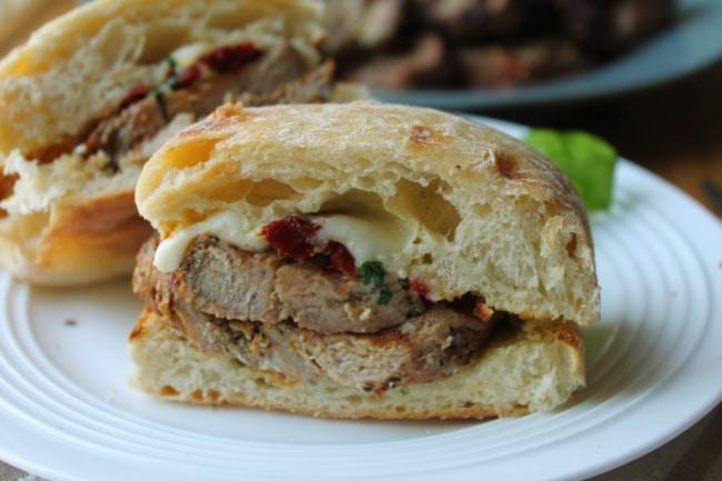 pork sandwich halved