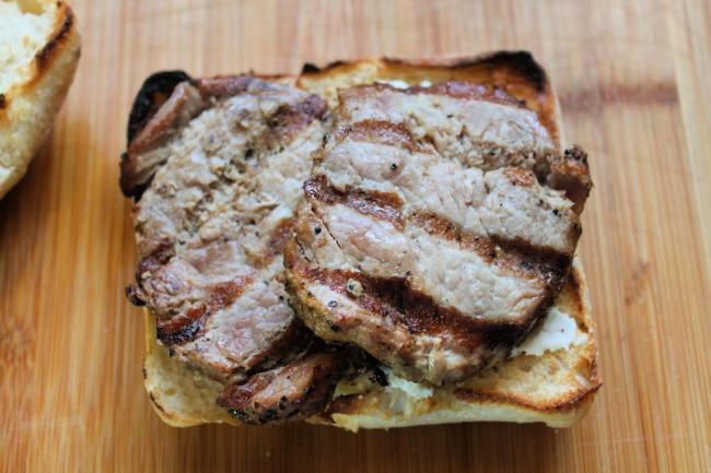 pork slices in sandwich
