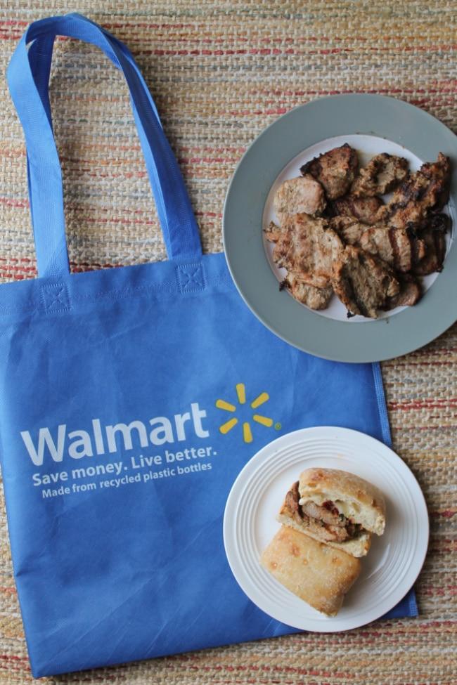pork sandwich with walmart bag