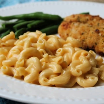 velveeta mac & cheese on plate with chicken