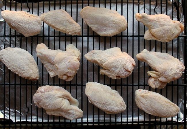 raw chicken on rack