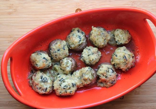 baked mushrooms in pan