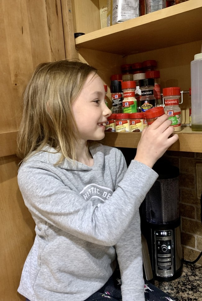 nora in spice cabinet for cranberry wings