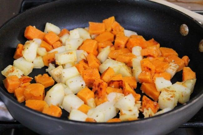 potatoes in pan for hash