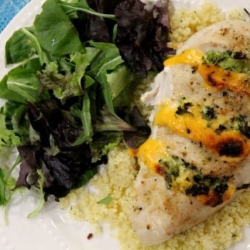 broccoli cheese stuffed chicken plated