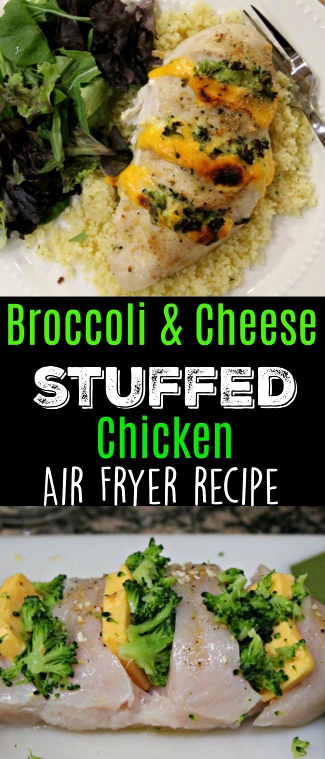 broccoli cheese stuffed chicken air fryer pin