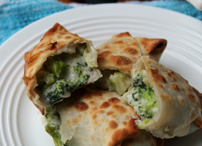 air fryer broccoli cheese egg rolls halved