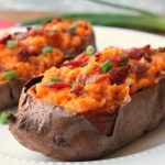 twice baked sweet potatoes plated