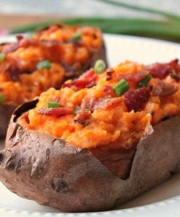 twice baked sweet potatoes plated