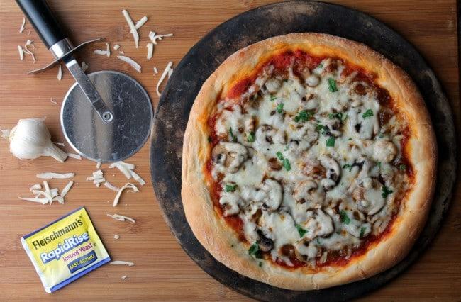 caramelized onion mushroom pizza whole prepared