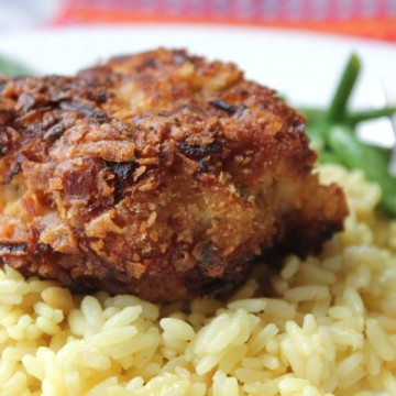 crispy pork on top of rice