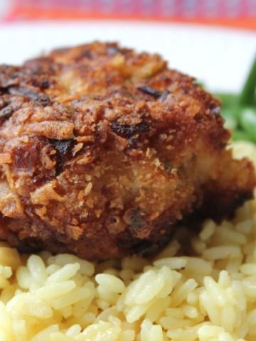 crispy pork on top of rice