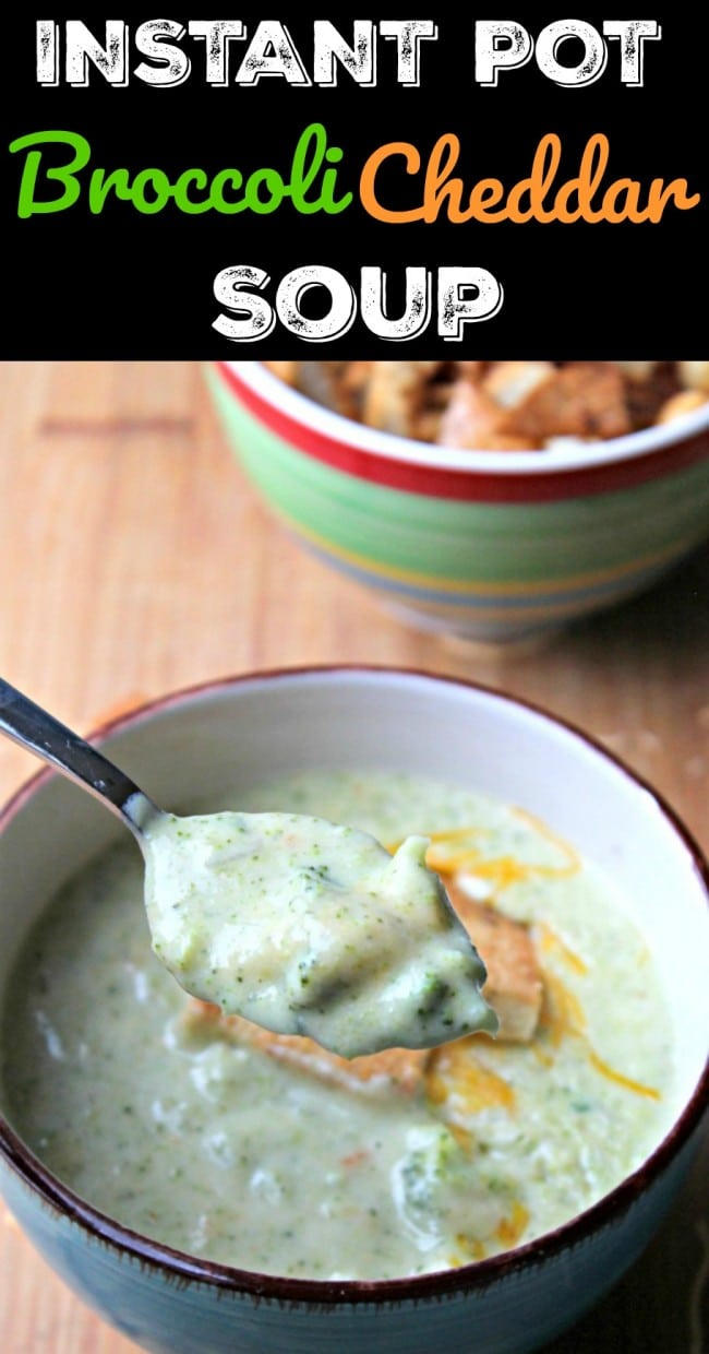 instant pot broccoli cheddar soup pin