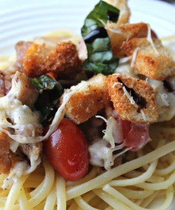 bruschetta chicken plated