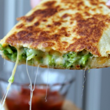 broccoli quesadilla cheese dangling