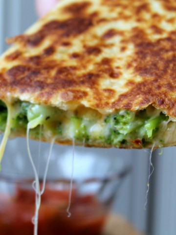 broccoli quesadilla cheese dangling